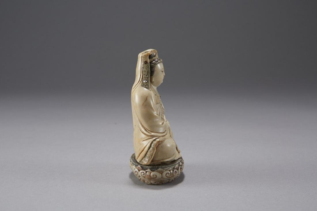 Chinese 18th C. Soapstone Figure of Guanyin Signed - 3