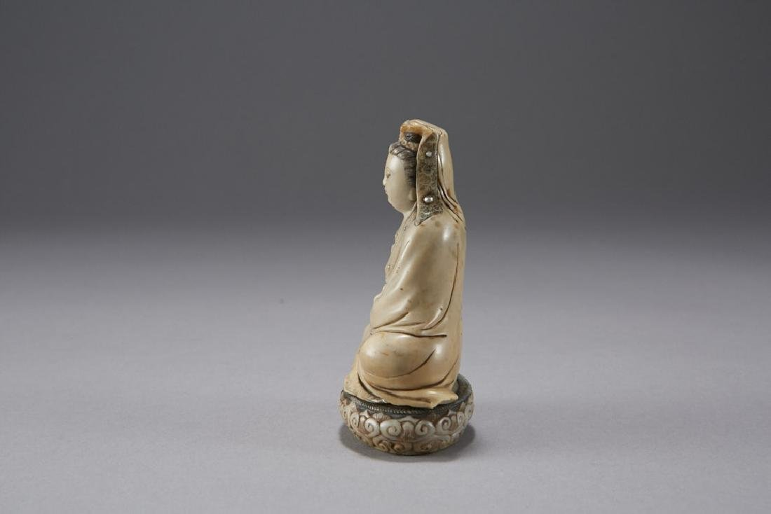 Chinese 18th C. Soapstone Figure of Guanyin Signed - 4