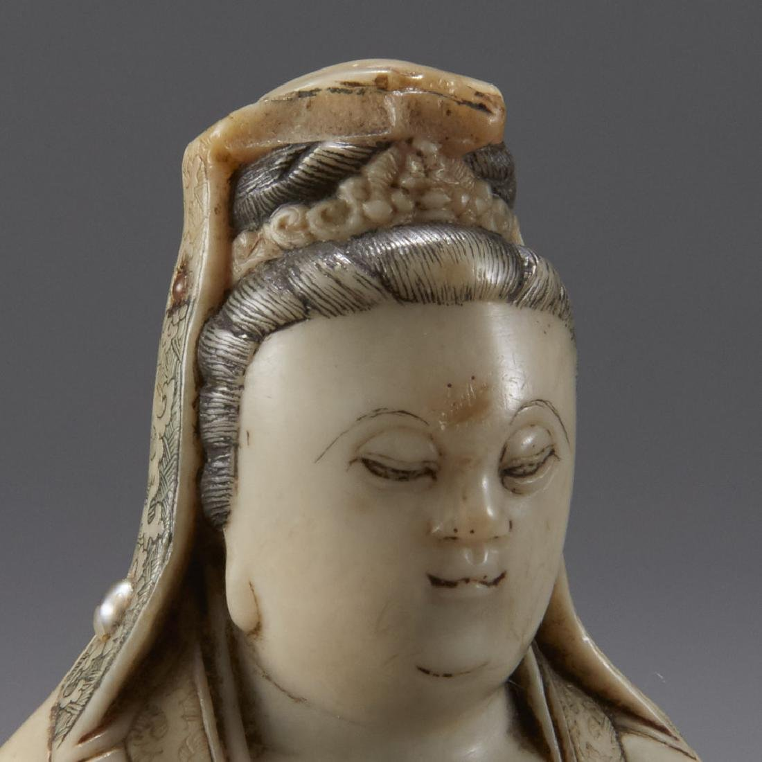 Chinese 18th C. Soapstone Figure of Guanyin Signed - 7