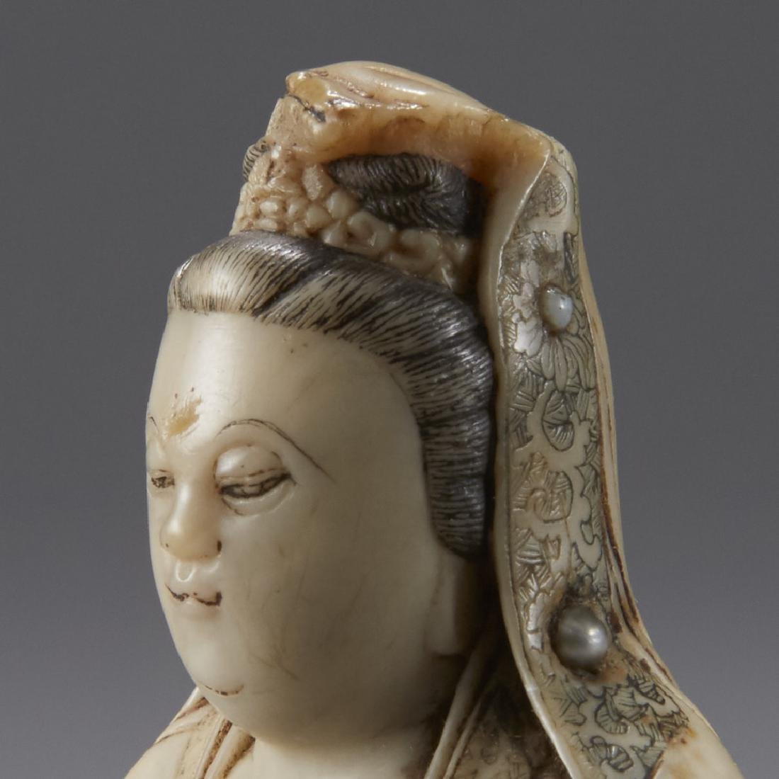 Chinese 18th C. Soapstone Figure of Guanyin Signed - 8