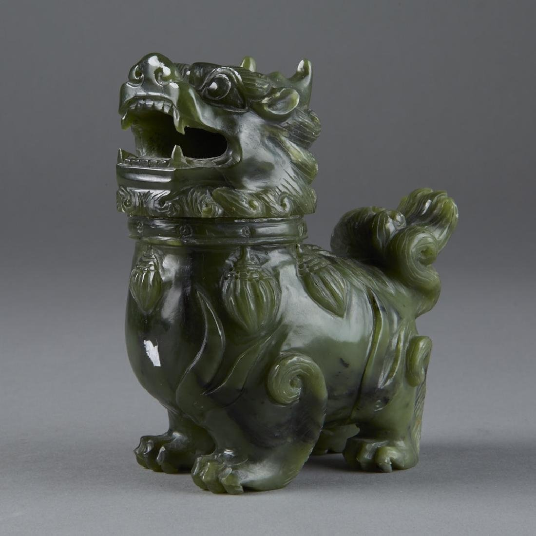 Chinese green carved Jade Shi Shi Censer 20th C.