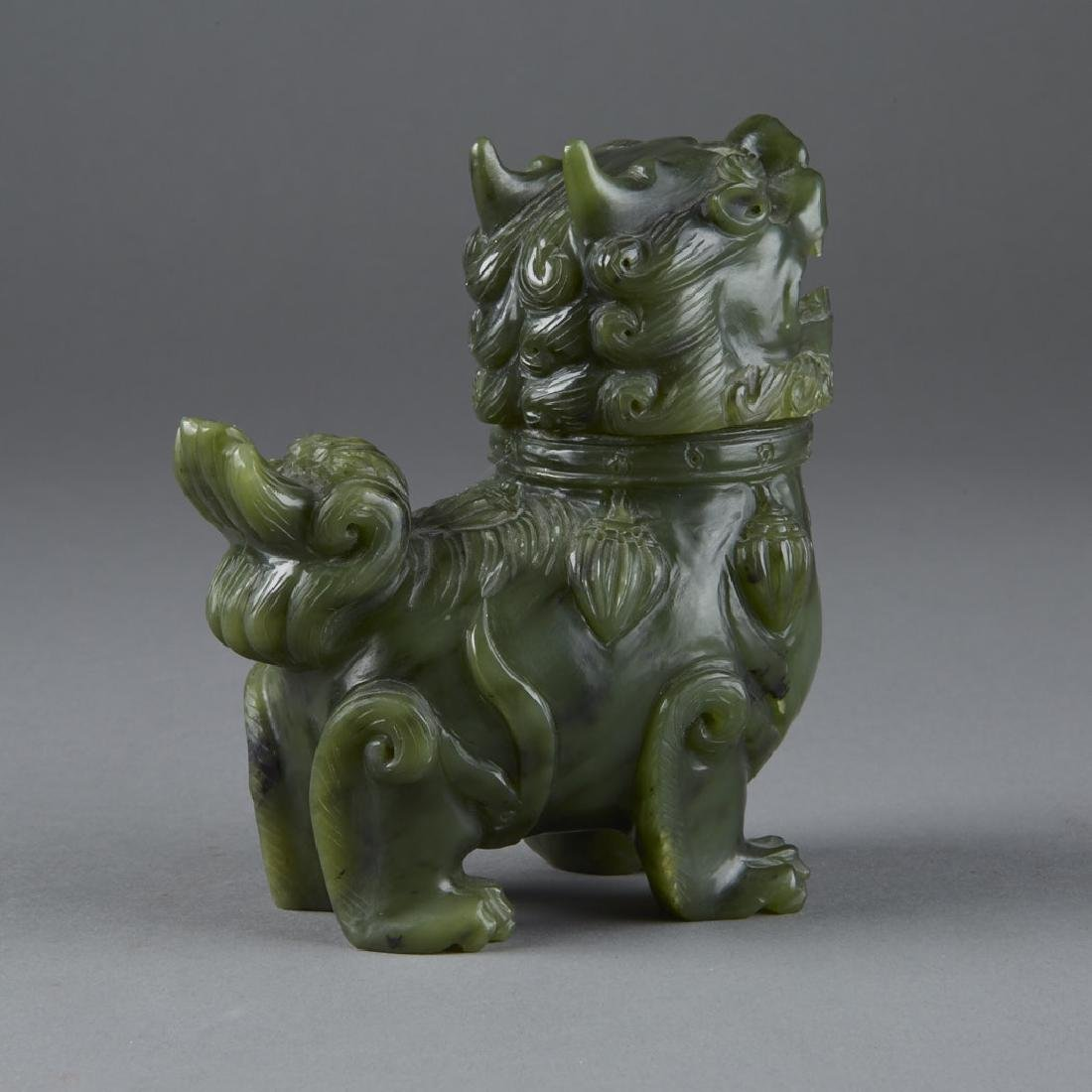 Chinese green carved Jade Shi Shi Censer 20th C. - 3