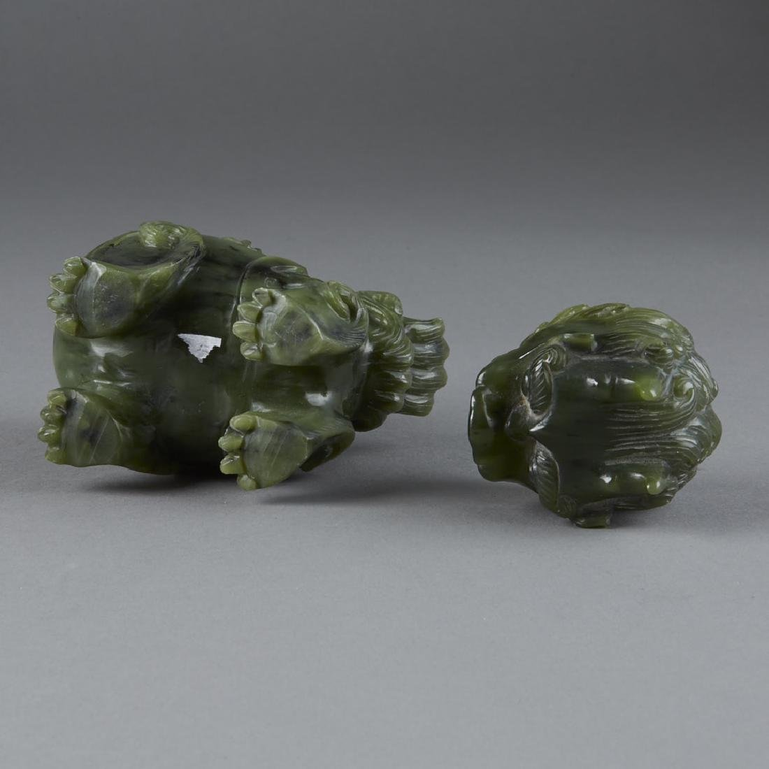 Chinese green carved Jade Shi Shi Censer 20th C. - 6