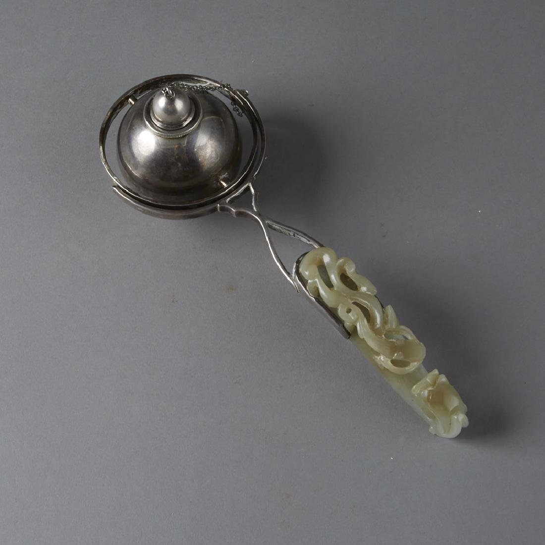 Chinese Jade Belt Hook Sterling by S&G Gump Co.