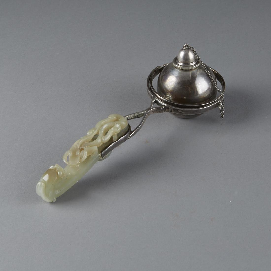 Chinese Jade Belt Hook Sterling by S&G Gump Co. - 3