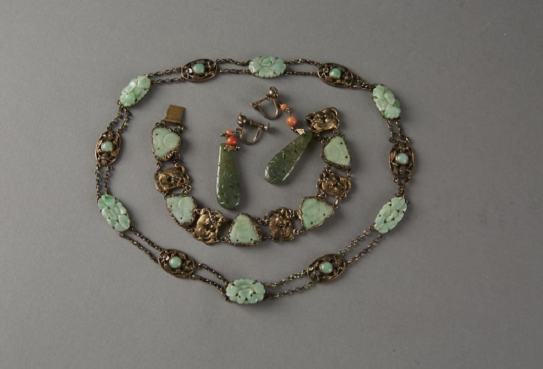 Chinese 19th or 20th C. Silver & Jade Jewelry - 2