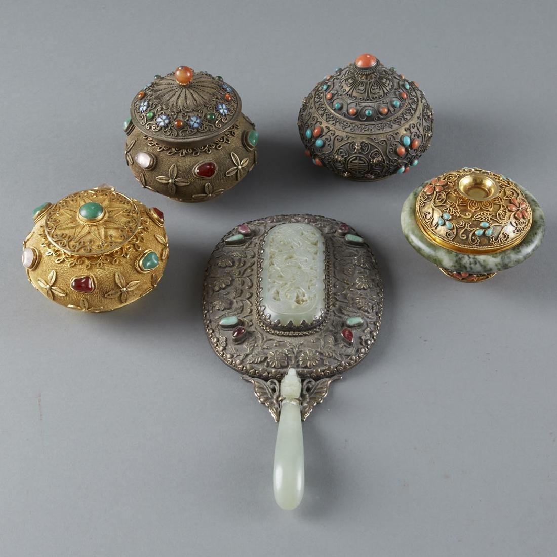 Chinese Enameled Silver Objects Inlay