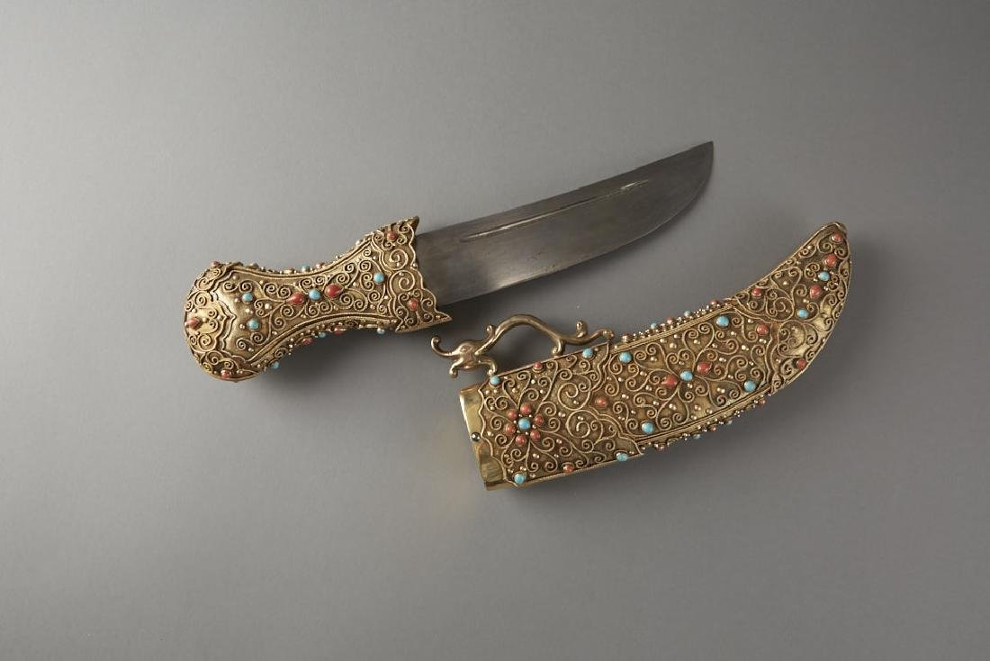Chinese Gilt Silver Dagger w/ Coral & Turquoise - 3