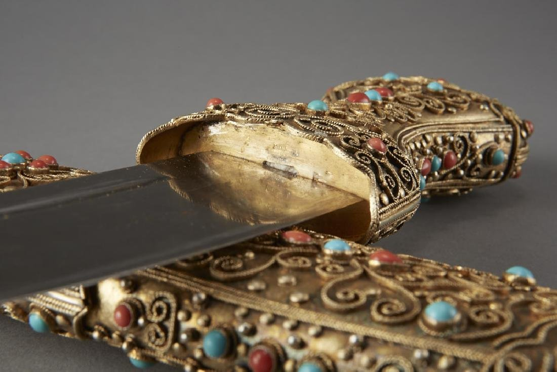 Chinese Gilt Silver Dagger w/ Coral & Turquoise - 4