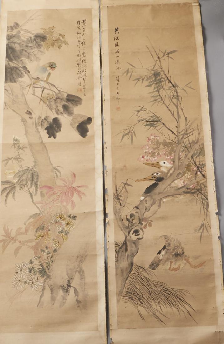 4 Chinese Scroll Paints. of Seasons: Zhao Ruhu-BTC Acpt - 2