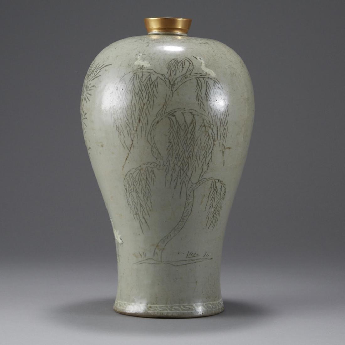 Korean Celadon Maebyong Vase Goryeo Dynasty - 4