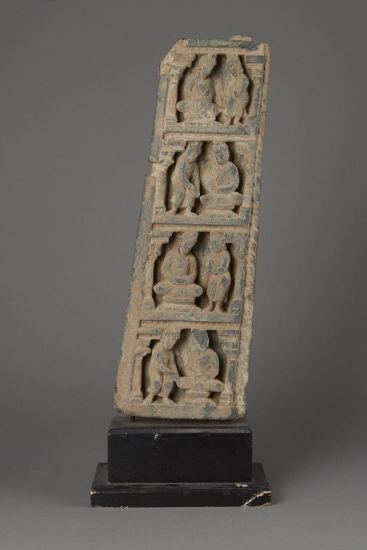 Carved Gandharan Schist Temple Fragment on Stand
