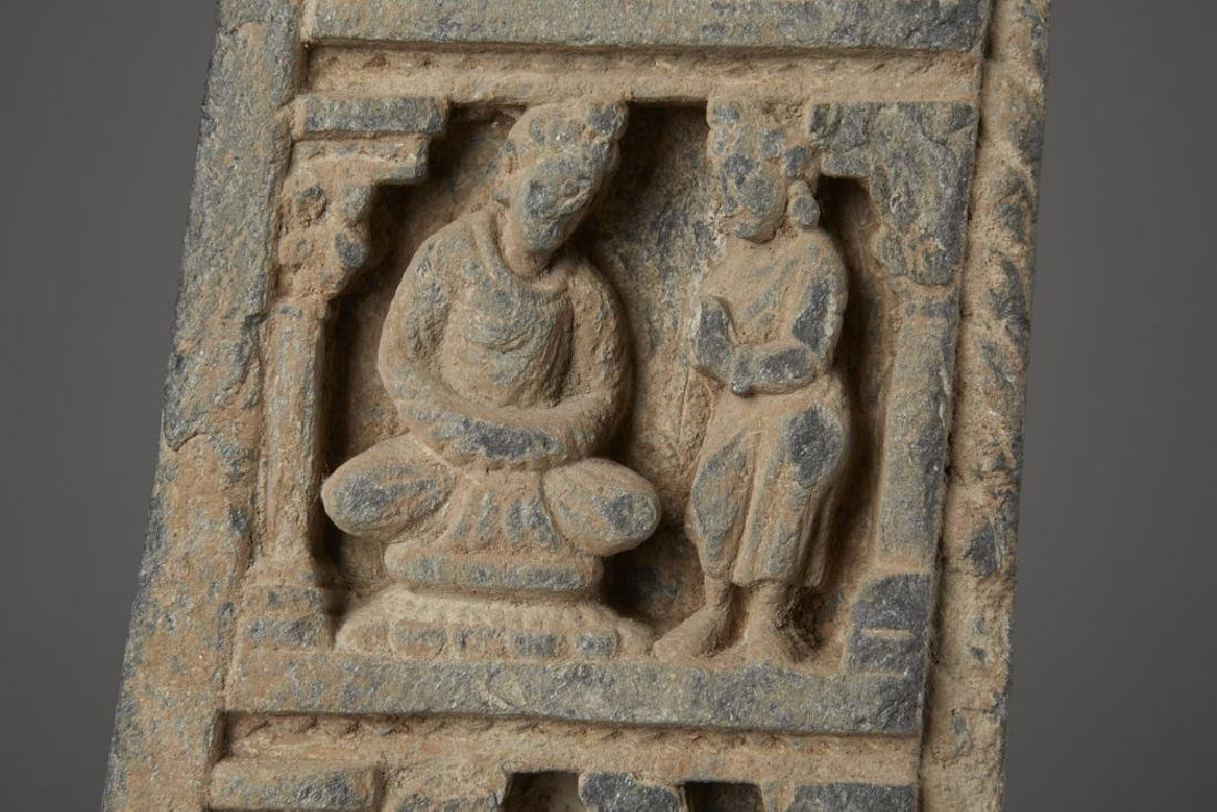 Carved Gandharan Schist Temple Fragment on Stand - 5