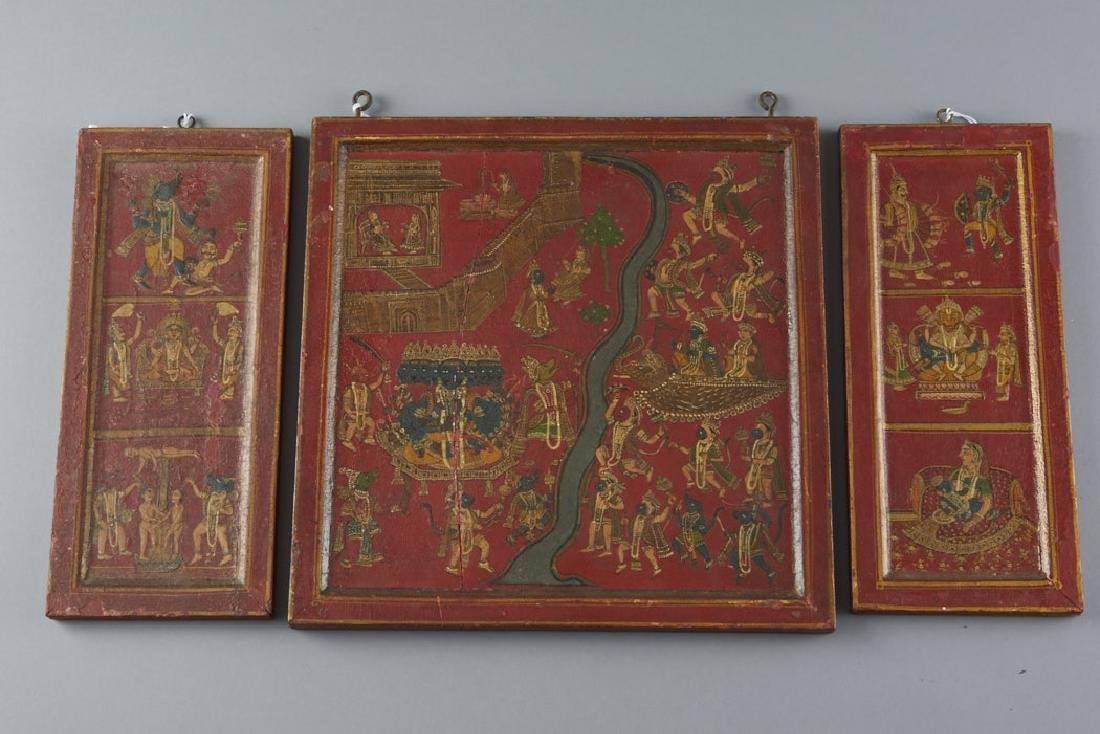 Mughal / Indian 19th C. Painted Cabinet Panels