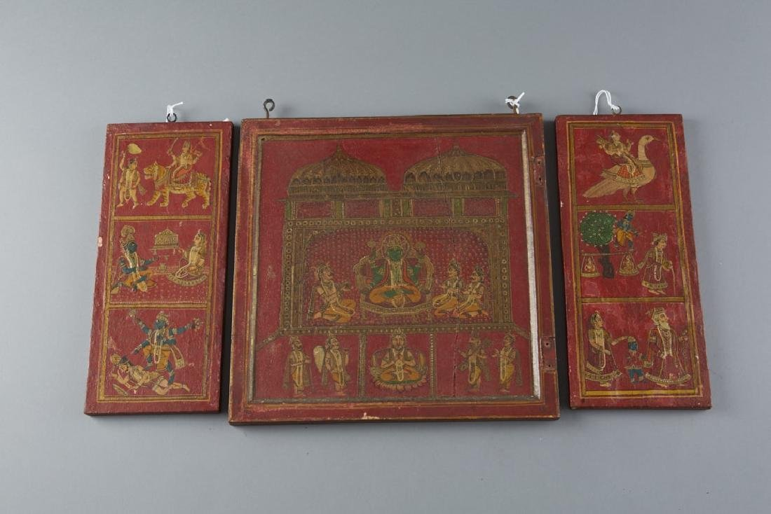 Mughal / Indian 19th C. Painted Cabinet Panels - 5