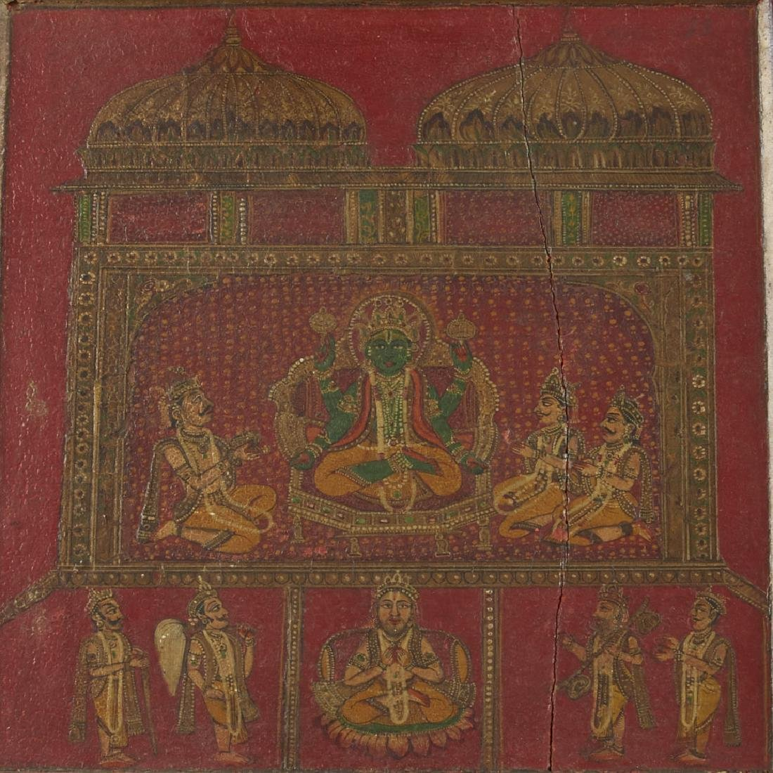 Mughal / Indian 19th C. Painted Cabinet Panels - 6