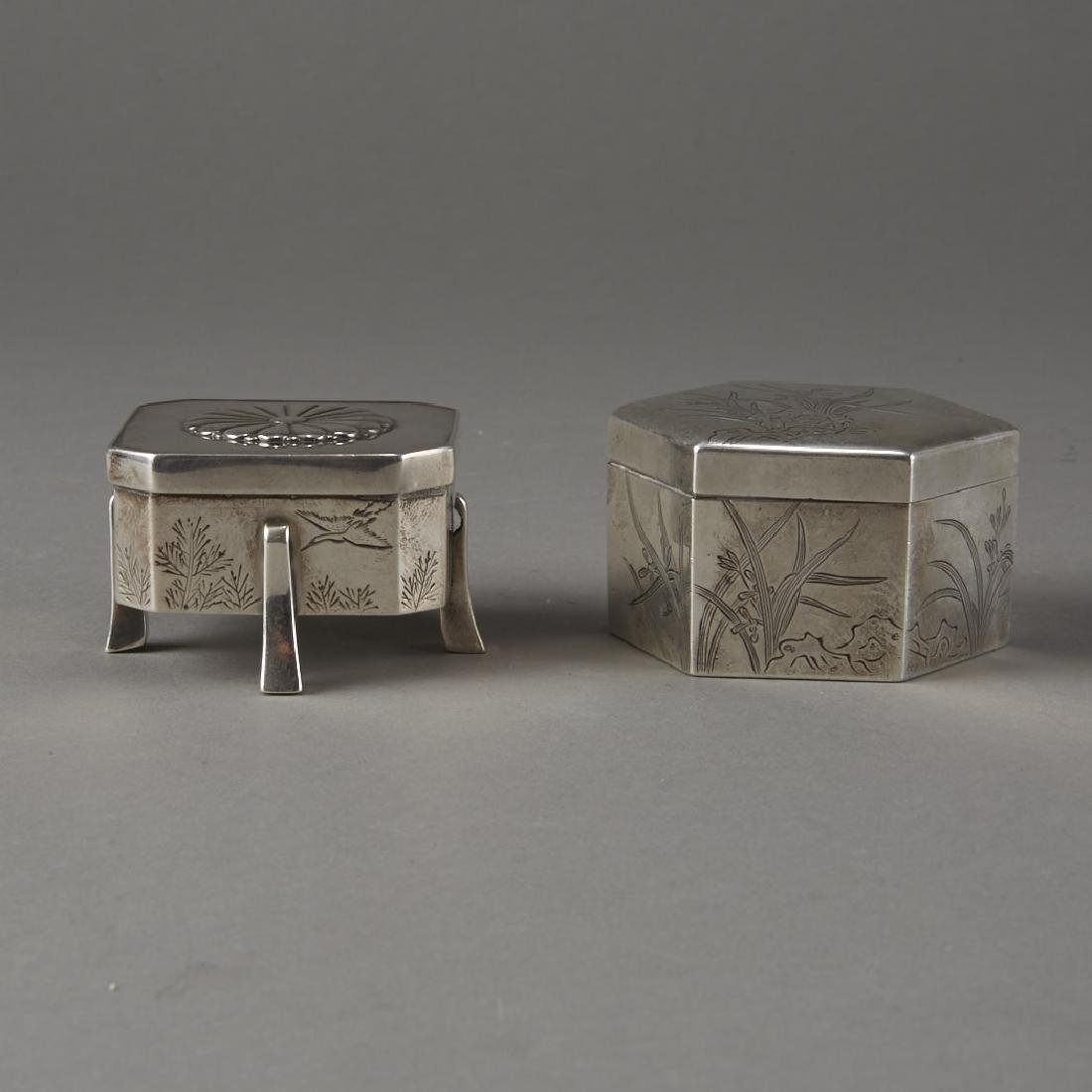 Japanese 20th C. Silver Boxes Decoration