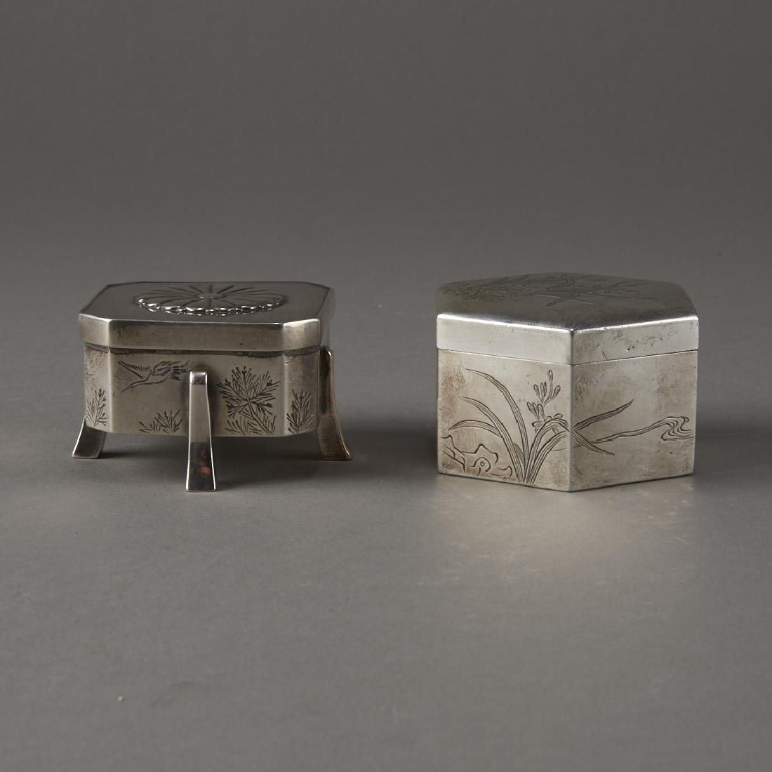Japanese 20th C. Silver Boxes Decoration - 2