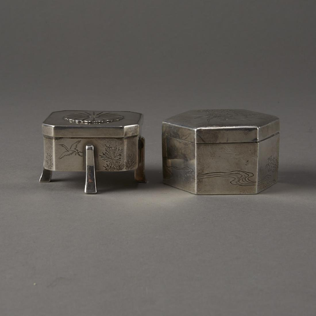 Japanese 20th C. Silver Boxes Decoration - 3
