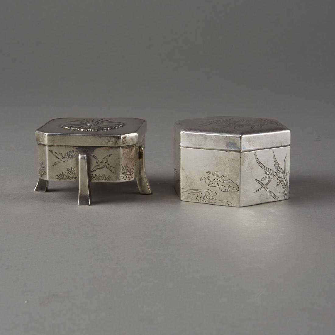 Japanese 20th C. Silver Boxes Decoration - 4