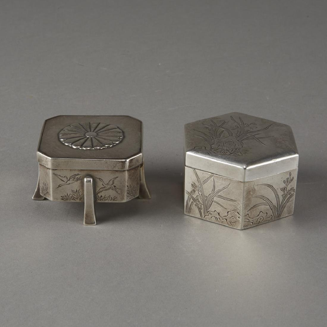 Japanese 20th C. Silver Boxes Decoration - 5