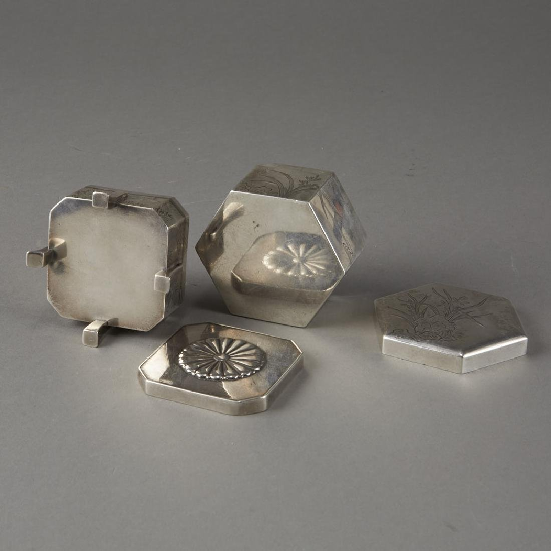Japanese 20th C. Silver Boxes Decoration - 7