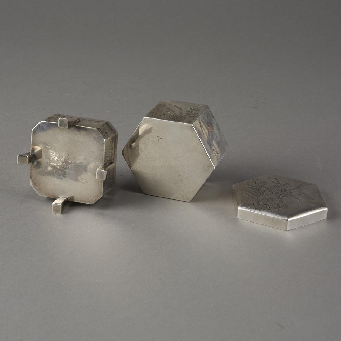 Japanese 20th C. Silver Boxes Decoration - 8
