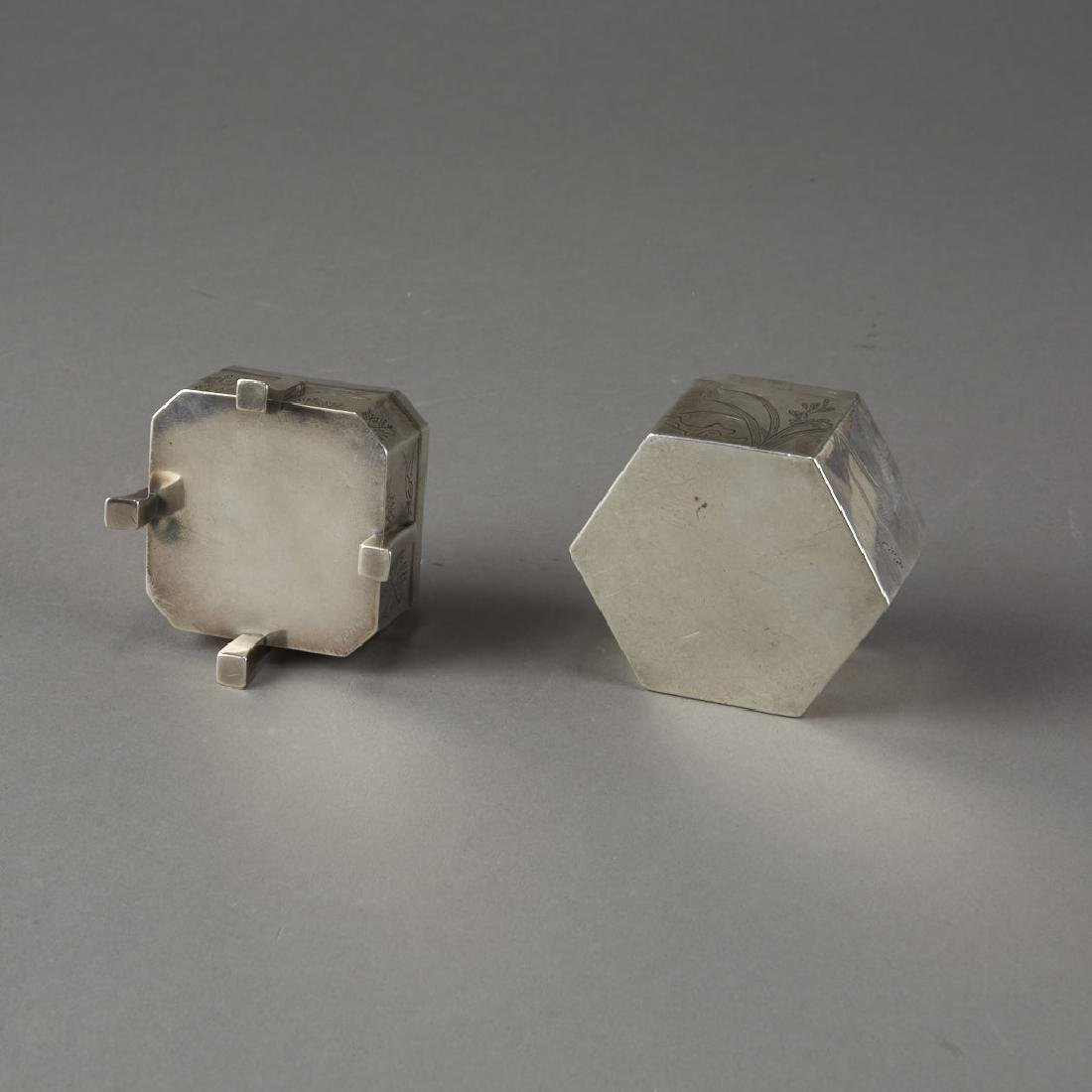 Japanese 20th C. Silver Boxes Decoration - 9