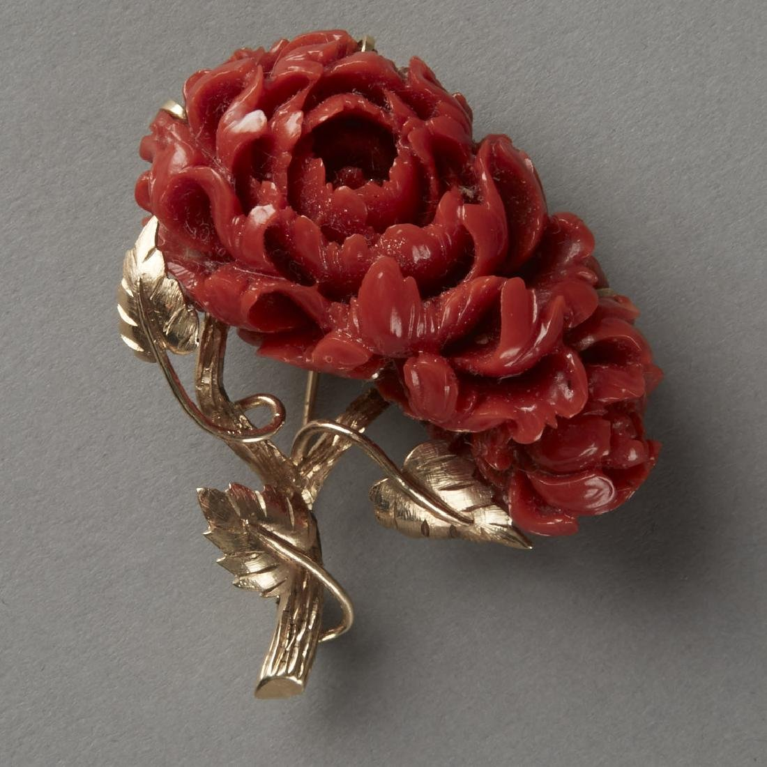 Gold & Coral Chrysanthemum Pin or Brooch