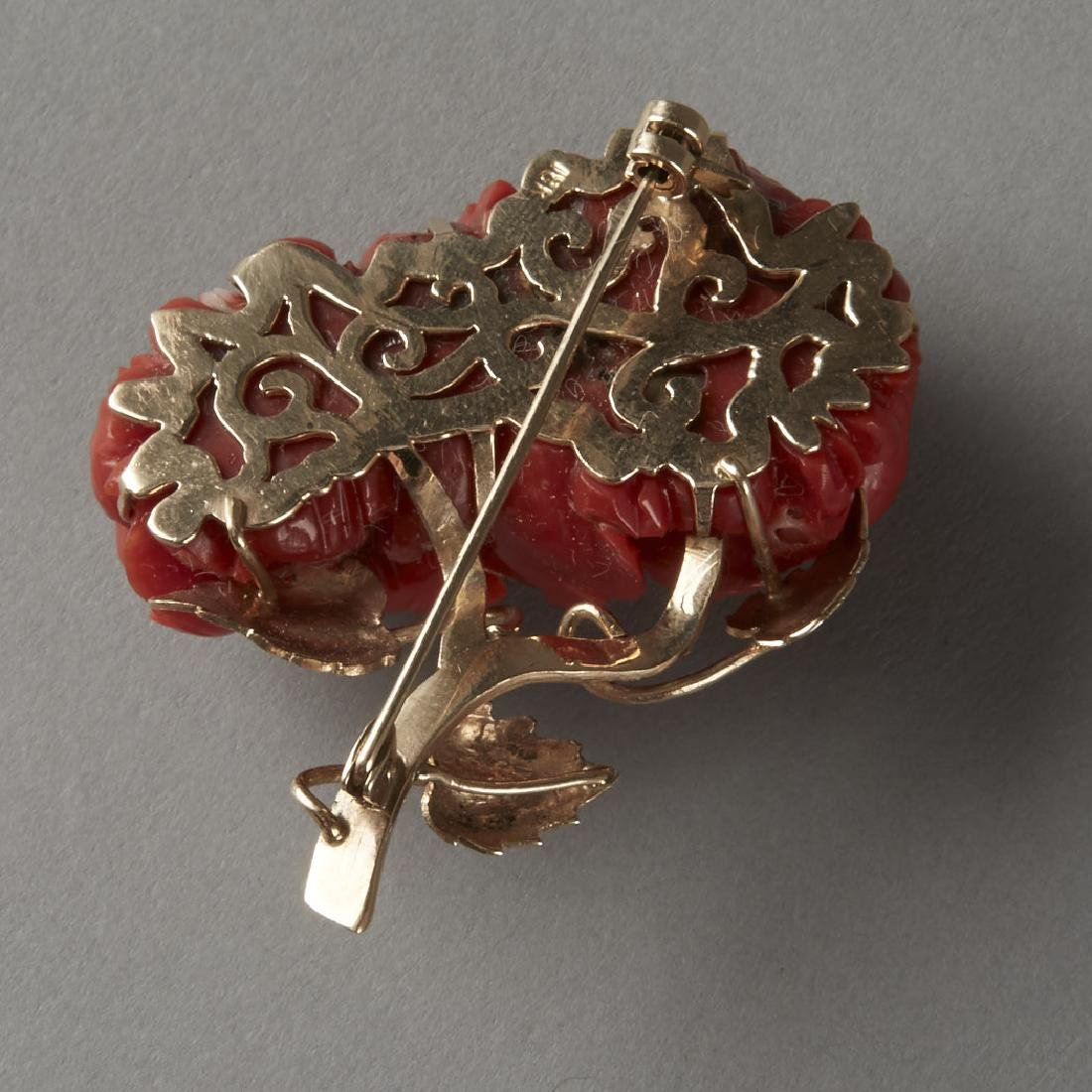 Gold & Coral Chrysanthemum Pin or Brooch - 2