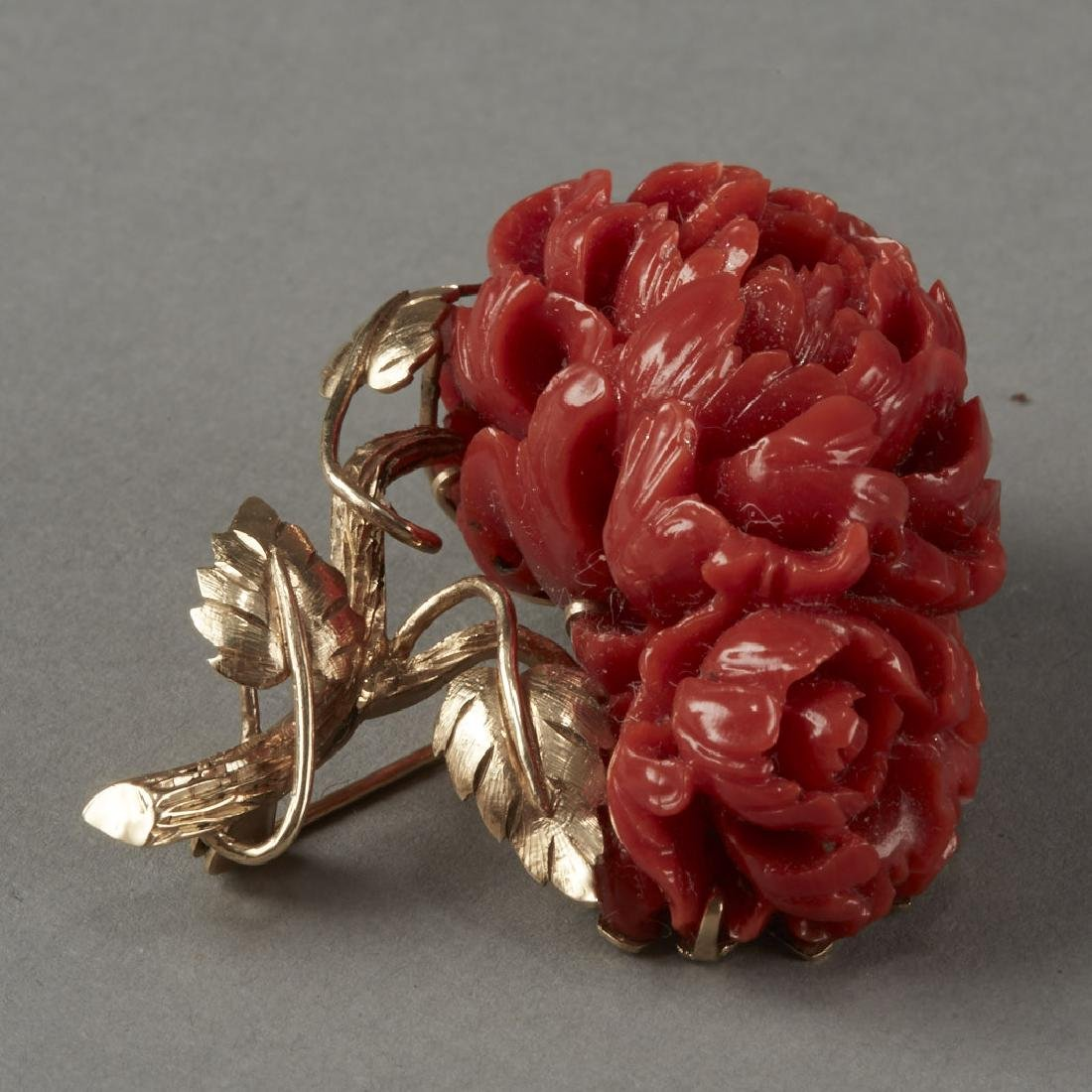 Gold & Coral Chrysanthemum Pin or Brooch - 5