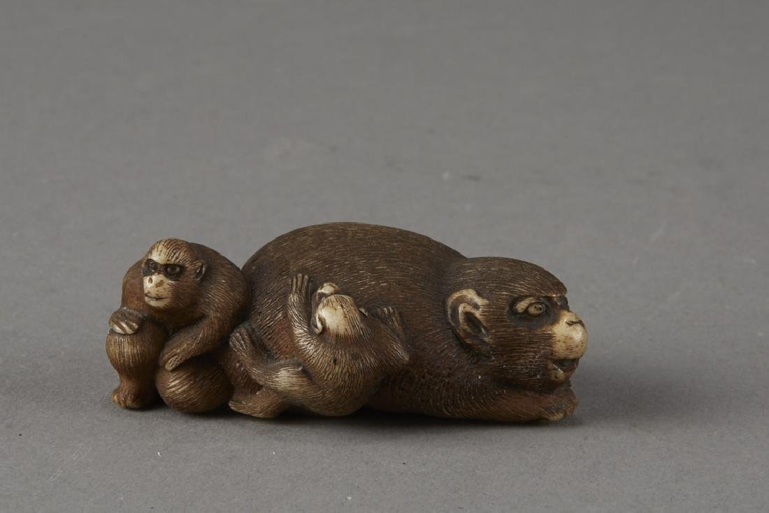 Japanese Stag Antler Netsuke Monkeys