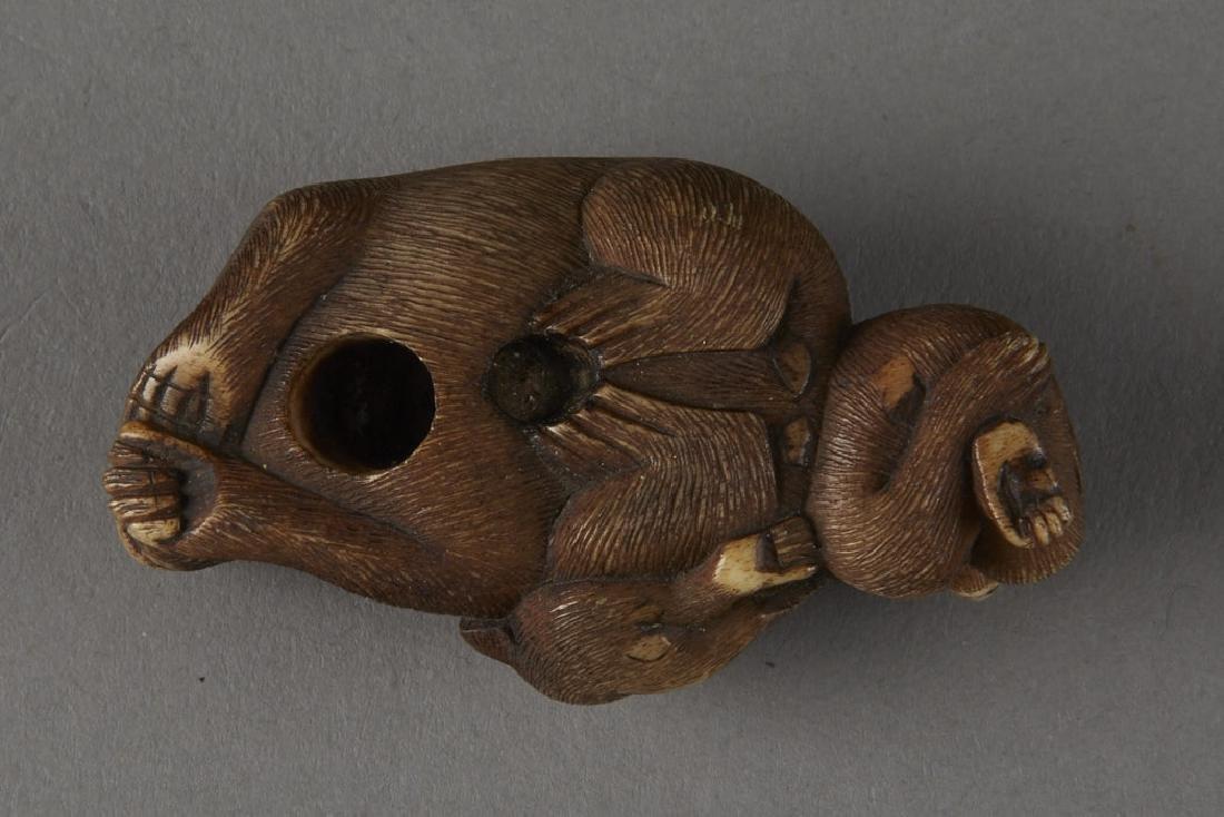 Japanese Stag Antler Netsuke Monkeys - 5