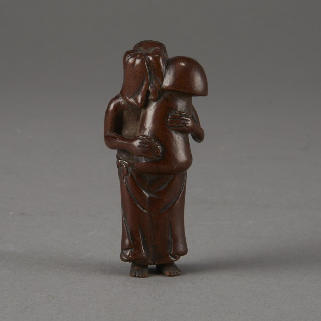 Japanese Edo Period Boxwood Netsuke of a Woman