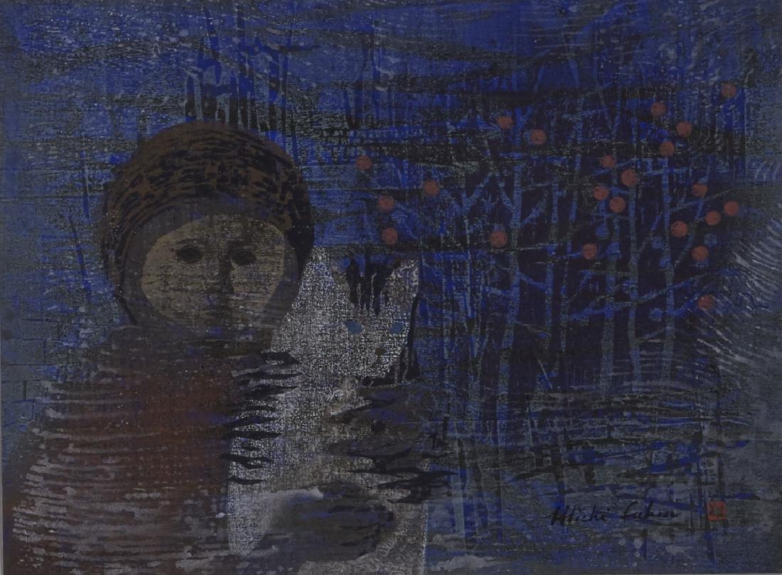 Michi Fukui Woodblock Print with Girl & Cat
