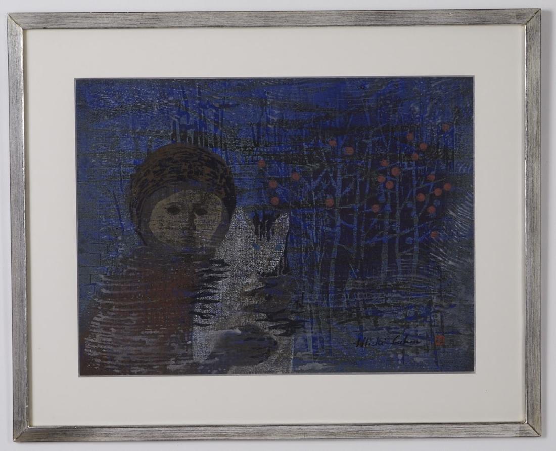 Michi Fukui Woodblock Print with Girl & Cat - 2