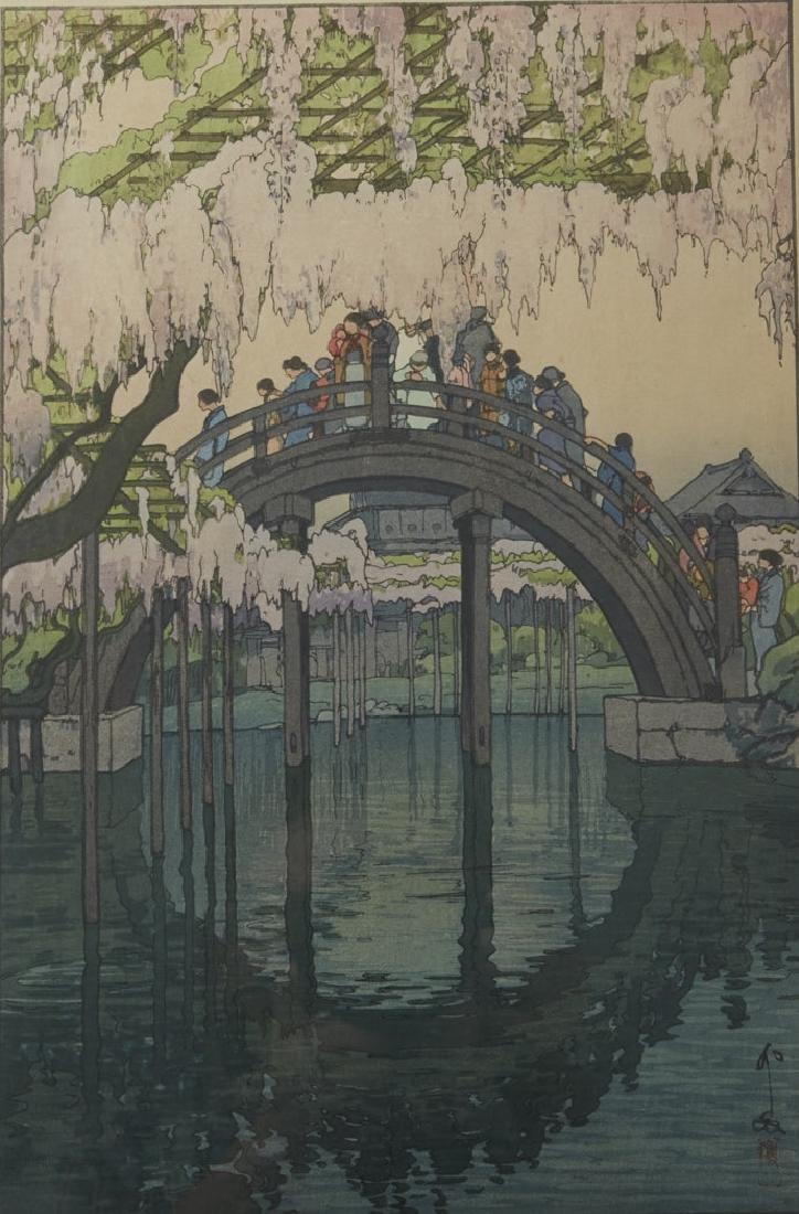 "Hiroshi Yoshida, ""Kameido Bridge"" Woodblock Print"