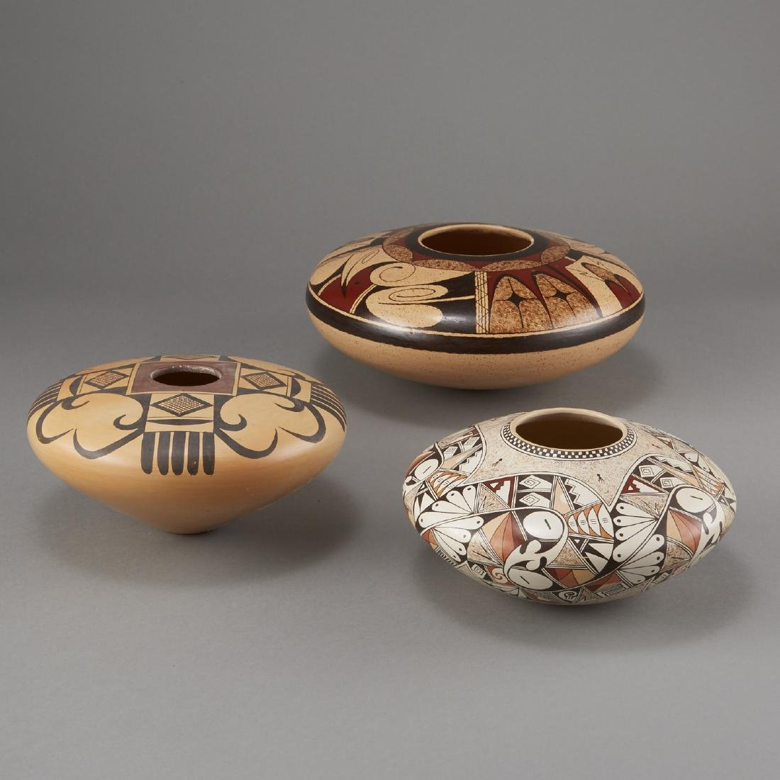 3 Fawn Navasie, Setalla, and Rainy Naha Hopi Pottery - 3