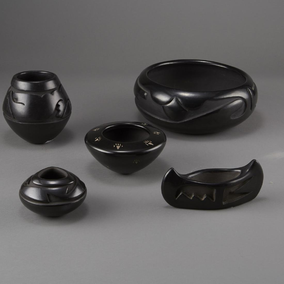 5 Carved Blackware Pottery Tafoya, Naranjo, Gonzalez,