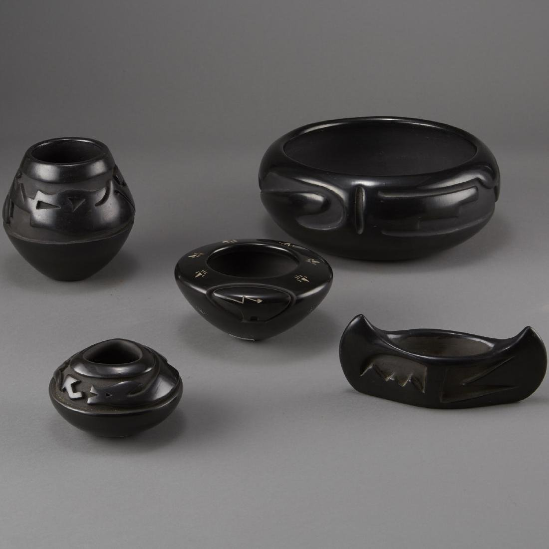 5 Carved Blackware Pottery Tafoya, Naranjo, Gonzalez, - 3