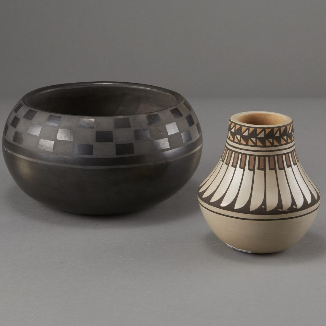 2 Blue Corn San Ildefonso Blackware and Jar
