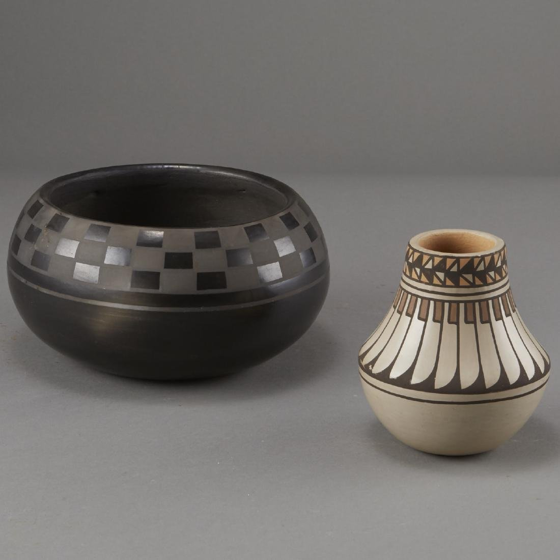 2 Blue Corn San Ildefonso Blackware and Jar - 2