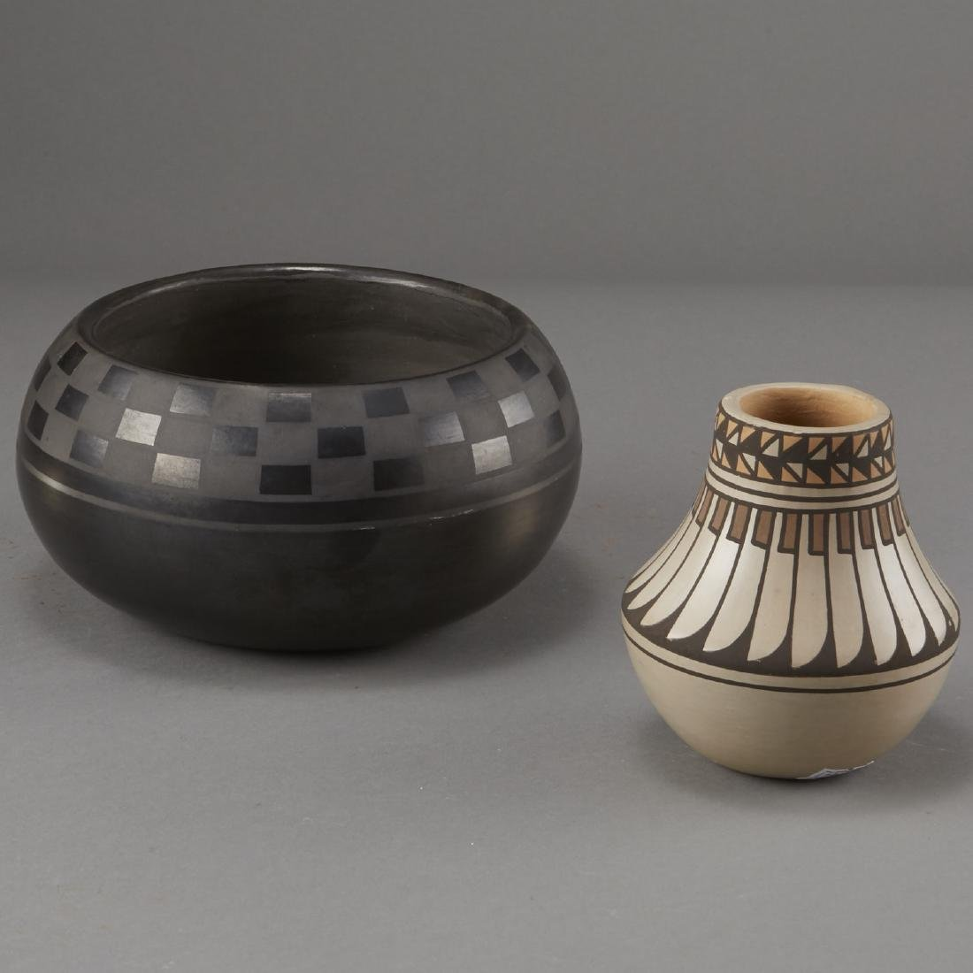 2 Blue Corn San Ildefonso Blackware and Jar - 4