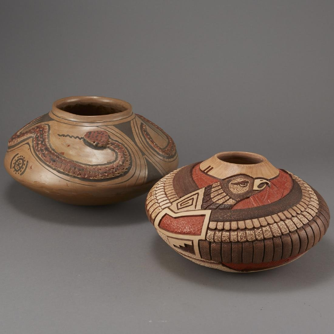 Group of 2 Pottery Bowls Tom Polacca Eagle