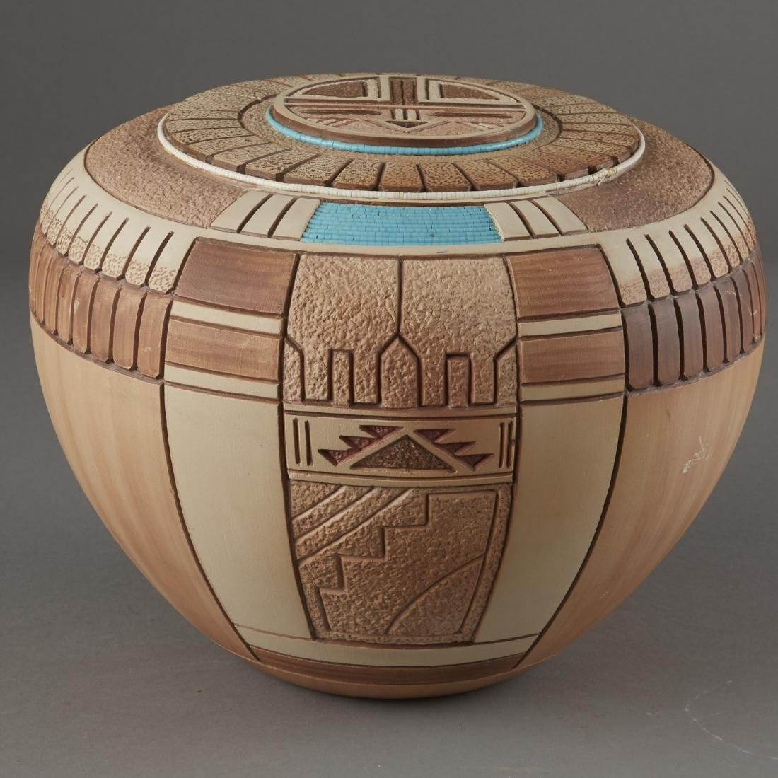 Tom Polacca Carved Pottery Turqoise