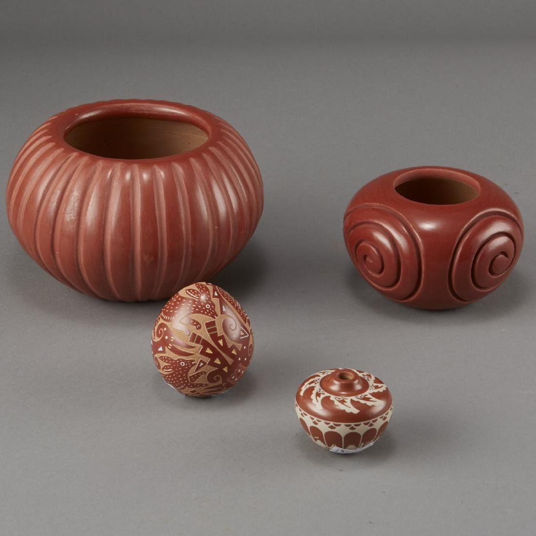 4 Redware Pottery Bowls Baca, Tafoya, Curran, and Suazo