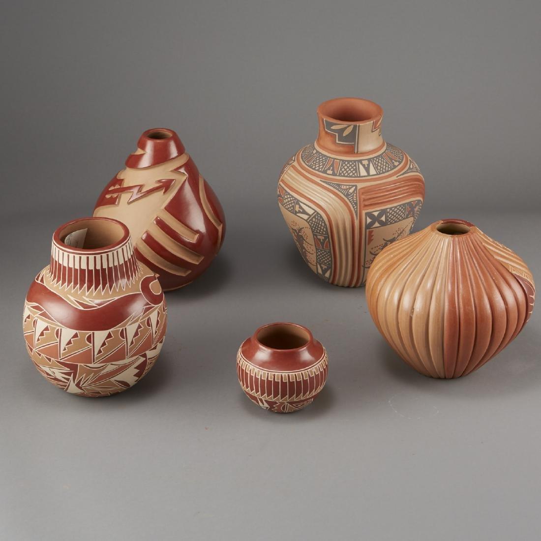 5 Santa Clara Redware Jars Tafoya, Gachapin