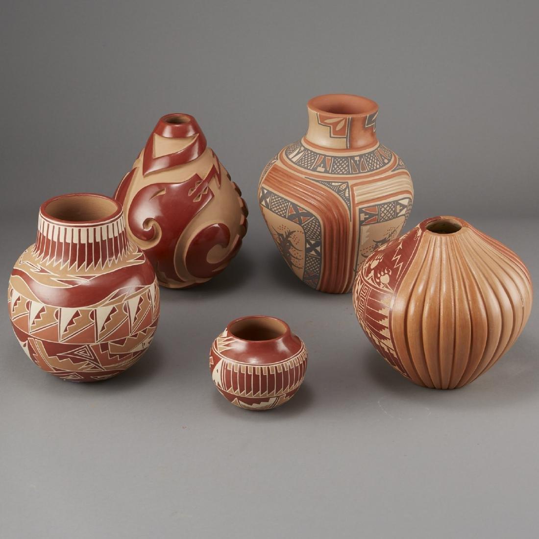 5 Santa Clara Redware Jars Tafoya, Gachapin - 3