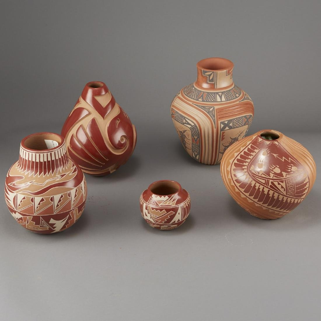 5 Santa Clara Redware Jars Tafoya, Gachapin - 4