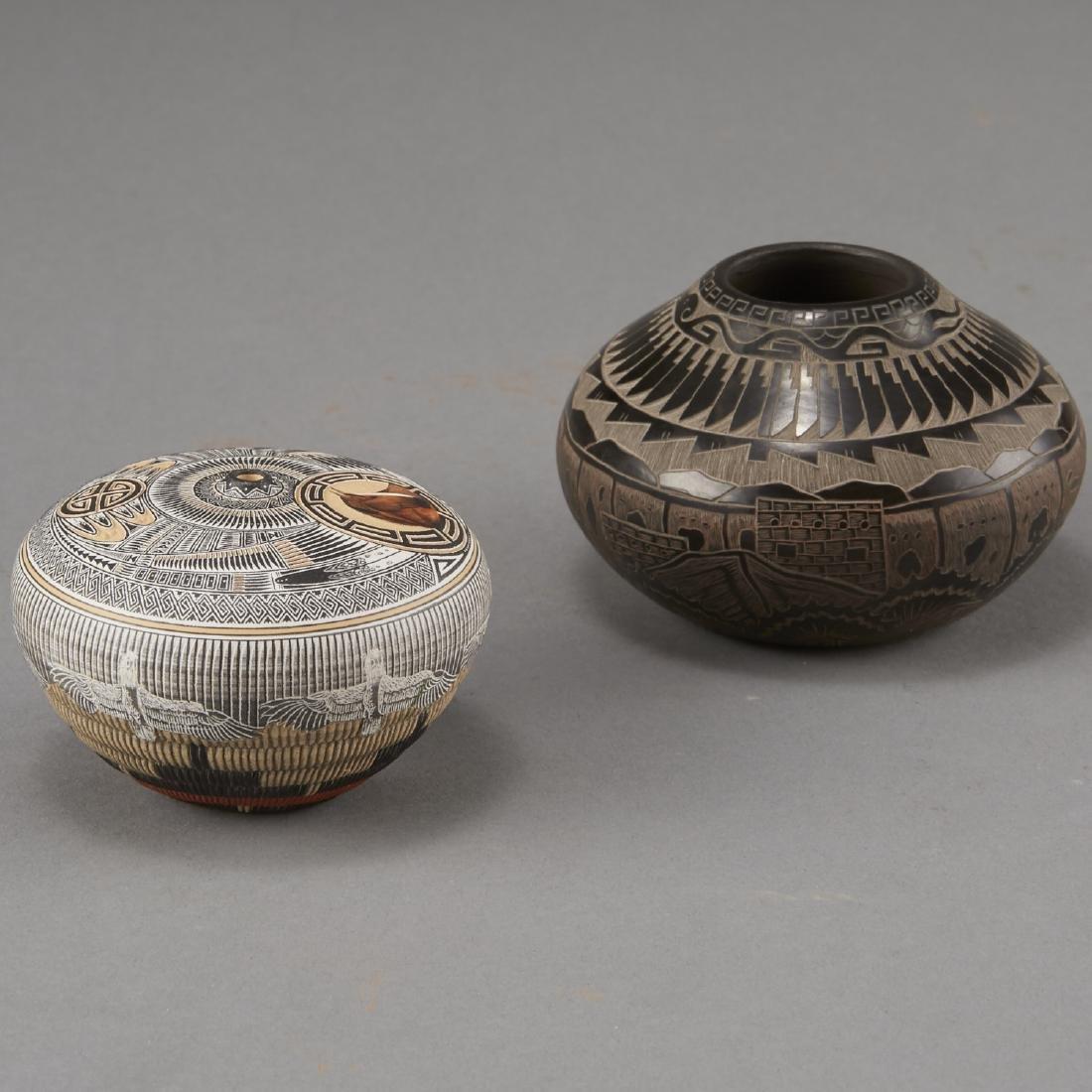 Naranjo, Nez Santa Clara Pottery Jars - 3